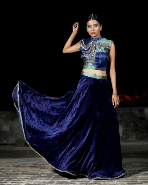 Shivangi Nigam Label - Blue velvet hand embroidered crop top skirt