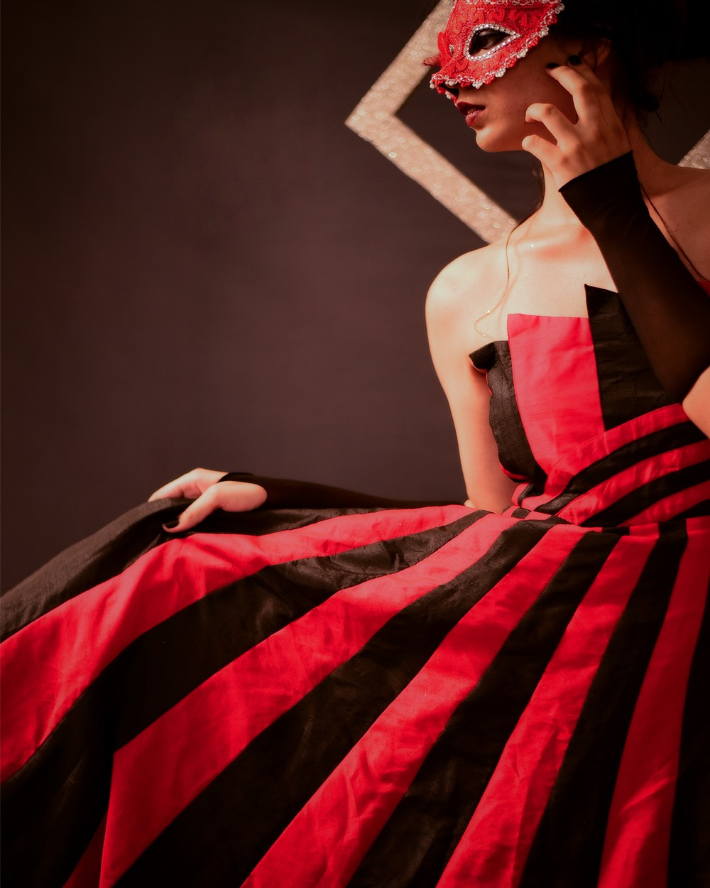 Shivangi Nigam Label - Red and Black Tube Gown
