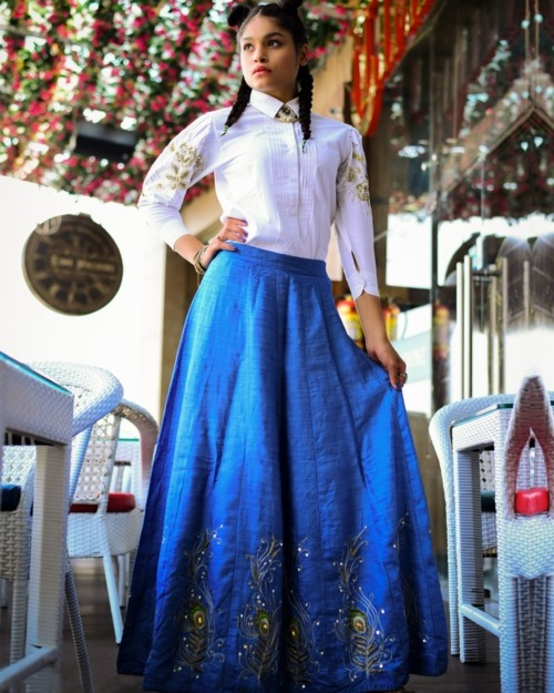Shivangi Nigam Label - Women Blue denim Skirt with Embroidery